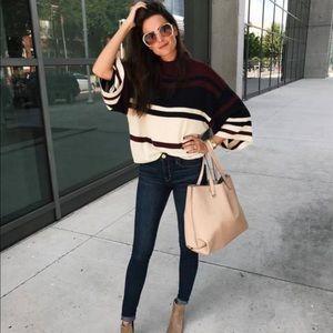 LOFT Bell sleeve striped sweater